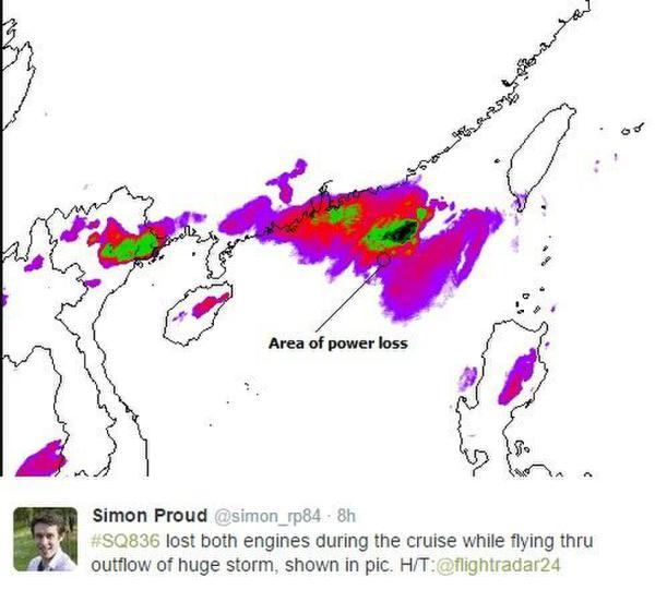 新航新加坡飞上海航班遇短暂双发失效(图)