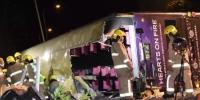 2月10日傍晚,香港大埔公路近松仔园附近,一辆双层九巴失事侧翻。中新社记者 麦尚旻 摄 - 新浪广东