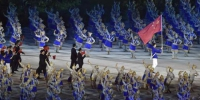 8月18日,第18届亚运会开幕式在印度尼西亚雅加达举行。这是中国代表团在开幕式上入场。新华社记者 李贺 摄 - 新浪广东