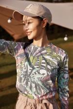 ▲Columbia防晒大使宋轶身着 2021春夏防紫外线印花长袖T恤 - 新浪广东